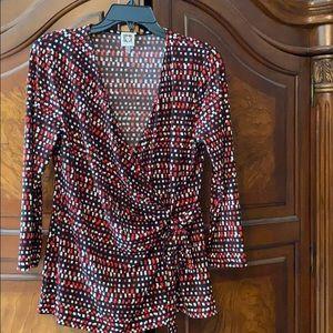 Ladies faux wrap blouse, red/white/black, large